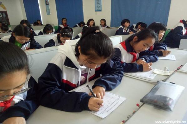汶上县白石镇中学举行硬笔书法比赛